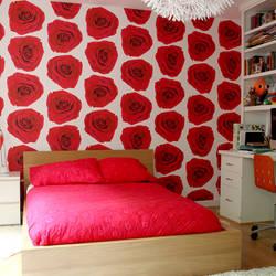 Rose Blossom, Magenta - Wallpaper Tiles