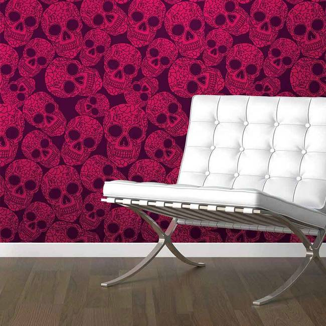 Sugar Skull, Plum - Wallpaper Tiles