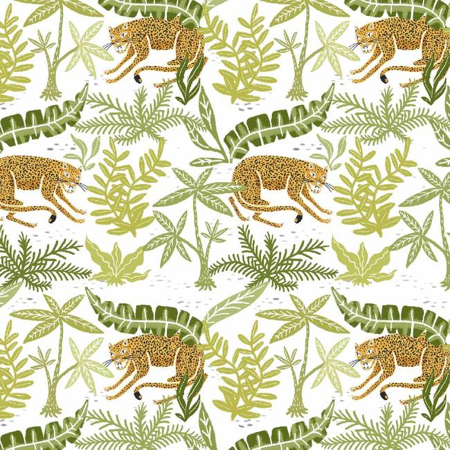 Jaguars In Brush, Day - Wallpaper Tiles