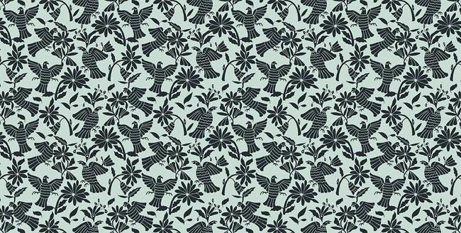 Pájaros, Dark Blue - Wallpaper Tiles