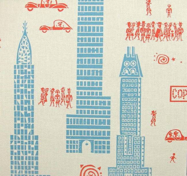 Manhattan - Red Blue - Linen