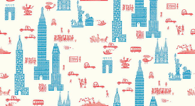 Manhattan - Red Blue - Linen