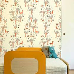 Forest Picnic, Orange - Jim Flora Wallpaper Tiles