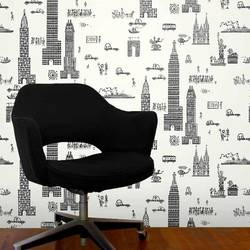 Manhattan, Charcoal - Jim Flora Wallpaper Tiles