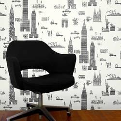Manhattan, Charcoal - Jim Flora Wallpaper Tiles
