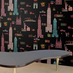 Manhattan, Night - Jim Flora Wallpaper Tiles