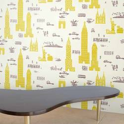 Manhattan, Yellow Grey - Jim Flora Wallpaper Tiles
