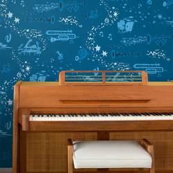 Rhapsody, In Blue - Jim Flora Wallpaper Tiles