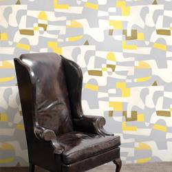 Shapeshifter, Grey Flannel with Yellow - Jim Flora Wallpaper Tiles