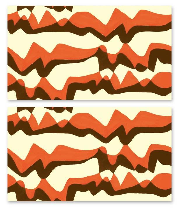 Subterranean Mountains, Orange - Jim Flora Wallpaper Tiles