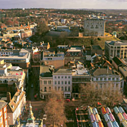 Norwich looking east from City Hall Clock Tower, Norwich, Norfolk, England
