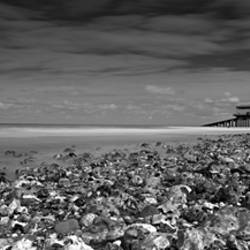 Monochrome panoramic of Cromer Beach, Cromer, Norfolk, England
