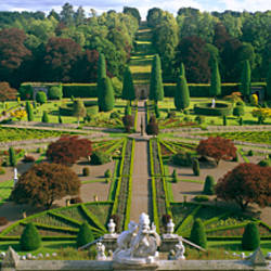 Formal gardens of a castle, Drummond Castle, Perthshire, Scotland