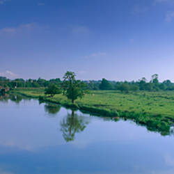 River flowing through landscape, Ouse River, Ely, Cambridgeshire, England