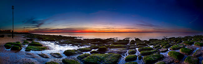 Rocks on the beach at sunset, Hunstanton, Norfolk, England