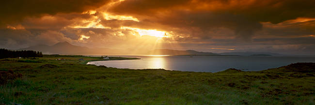 The Cuillins hills and Scalpay from across Broadford Bay, Isle of Skye, Scotland