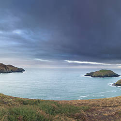 Storm clouds over the sea, Strumble Head Lighthouse, Pembrokeshire, Wales