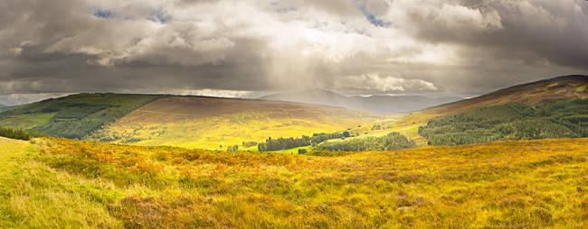 Storm clouds over mountains, Mt Schiehallion, Perthshire, Scotland