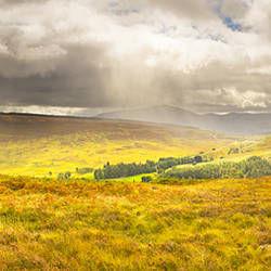 Storm clouds over mountains, Mt Schiehallion, Perthshire, Scotland