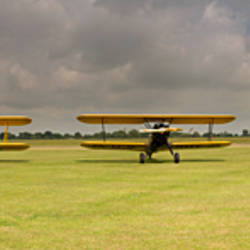 Historic airplanes in a field, Old Buckenham, Norfolk, England