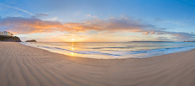 Sunrise over the sea, Tenby, Pembrokeshire, Wales