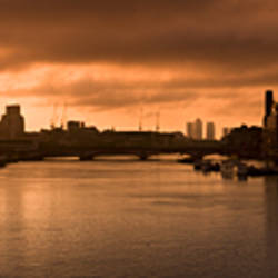 City dawn, looking east from Waterloo Bridge at sunrise, Thames River, London, England
