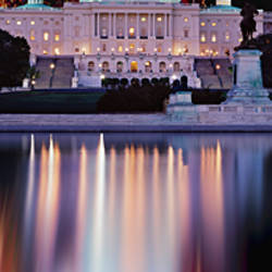 Firework display over a government building at night, Capitol Building, Capitol Hill, Washington DC, USA