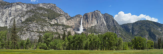 Panoramic view of Yosemite Falls and the Yosemite meadow in late spring, Yosemite National Park, California, USA