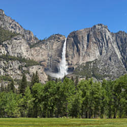 Panoramic view of Yosemite Falls and the Yosemite meadow in late spring, Yosemite National Park, California, USA