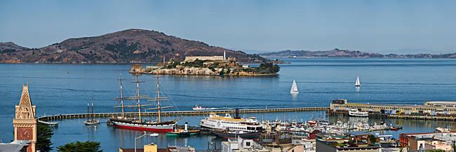 Prison on an island, Alcatraz Island, Aquatic Park Historic District, Fisherman's Wharf, San Francisco, California, USA