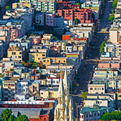 Buildings in a city viewed from the Coit tower of Russian Hill, San Francisco, California, USA