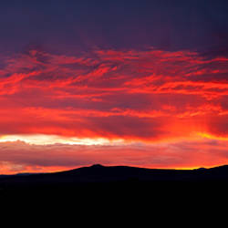 Silhouette of mountains at sunset, Taos, New Mexico, USA