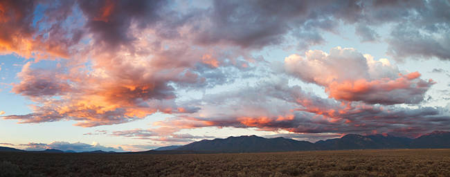 Storm clouds over a landscape, Taos, New Mexico, USA