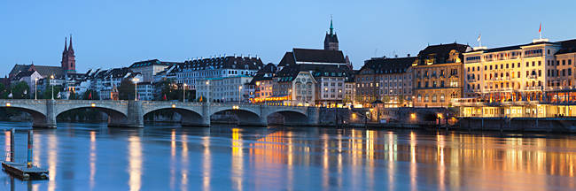 Bridge across a river with a cathedral in the background, Mittlere Rheinbrucke, St. Martin's Church, River Rhine, Basel, Switzerland