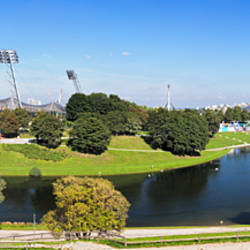 Olympiapark with stadium, hall and a lake, Munich, Bavaria, Germany