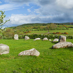 Piper's Stone, Bronze Age Stone Circle (1400-800 BC) of 14 Granite Boulders, Near Hollywood, County Wicklow, Ireland