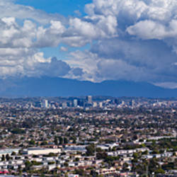 City with mountain range in the background, Mid-Wilshire, Los Angeles, California, USA