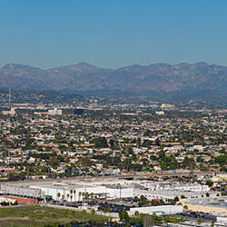 City with mountain range in the background, Mid-Wilshire, San Gabriel Mountains, Downtown Los Angeles, Los Angeles, California, USA