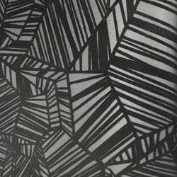 Plush Flocked Wallpaper Pyrite Ebony/Black Velvet