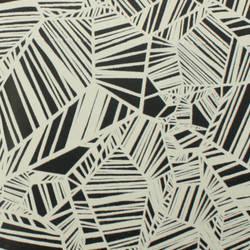 Plush Flocked Wallpaper Pyrite Ebony/White Velvet