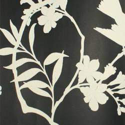 Plush Flocked Wallpaper Birds in Trees Ebony/White Velvet