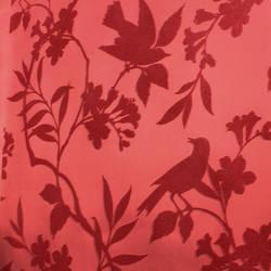 Plush Flocked Wallpaper Birds in Trees Rose/Rose Velvet