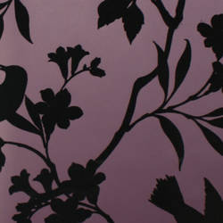 Plush Flocked Wallpaper Birds in Trees Plum/Black Velvet