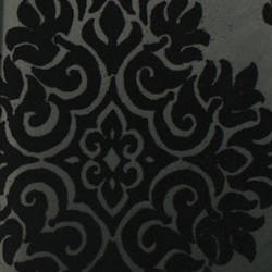 Plush Flocked Wallpaper French Garden Damask Ebony/Black Velvet