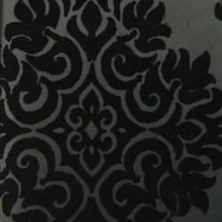 Plush Flocked Wallpaper French Garden Damask Ebony Black Velvet