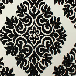 Plush Flocked Wallpaper French Garden Damask White/Black Velvet