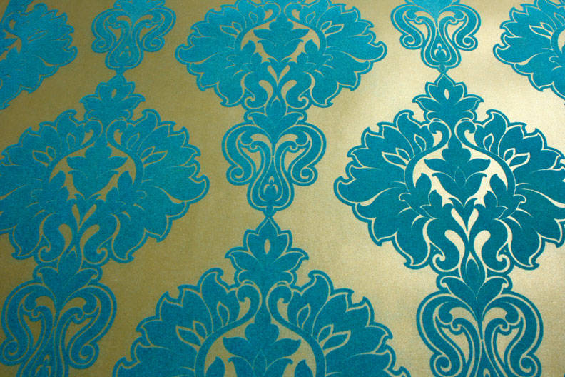 Plush Flocked Wallpaper Symphony Damask Gold Leaf Teal Velvet