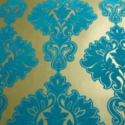 Plush Flocked Wallpaper Symphony Damask Gold Leaf/Teal Velvet