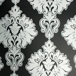 Plush Flocked Wallpaper Symphony Damask Ebony/White Velvet