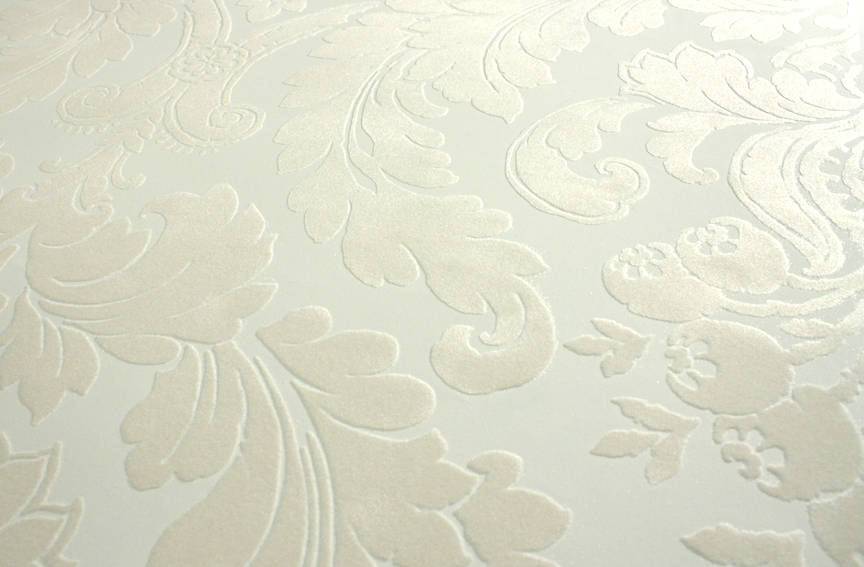 Plush Flocked Wallpaper Heritage Damask White Beige Velvet